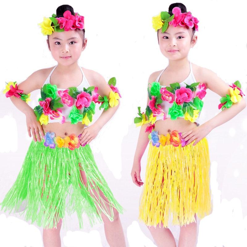 Girls Floral Ballroom Hawaiian Dance Costumes Tops Skirt  sc 1 st  Meningrey & Hawaiian Costumes For Kids - Meningrey