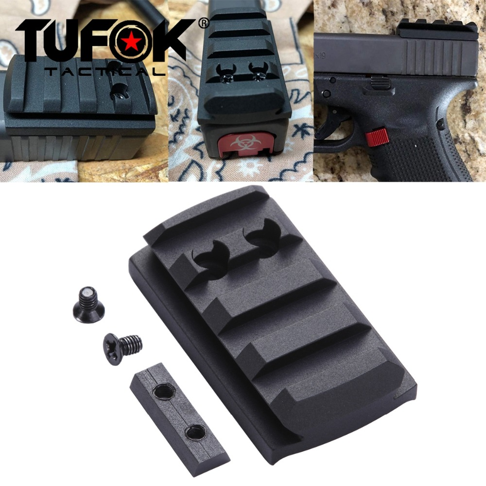 TuFok Glock Plate G17/19/22/23/26/27/34 Glock Mount For Viper Sightmark Burris Vortex Red Dot Sight  Picatinny Rail Adapter Base-in Scope Mounts & Accessories from Sports & Entertainment