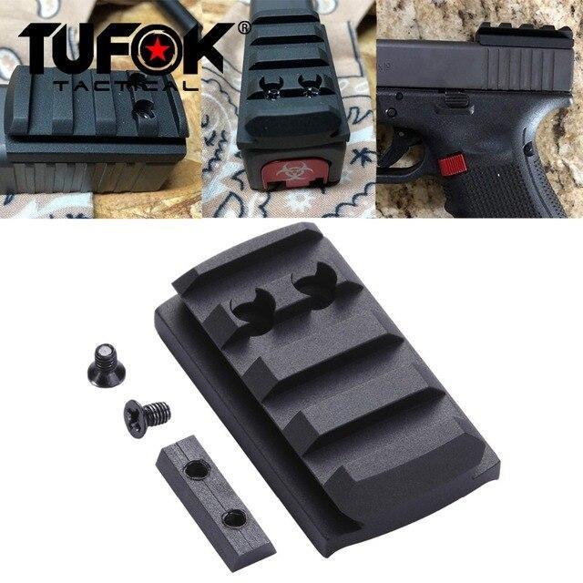 TuFok Glock Plate G17/19/22/23/26/27/34 Glock Mount For Viper Sightmark Burris Red Dot Sight  Picatinny Rail Adapter Base