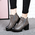 New 2017 spring and autumn shoes women platform ankle boots leather ladies thick heel boots rock shoes black grey warm boots
