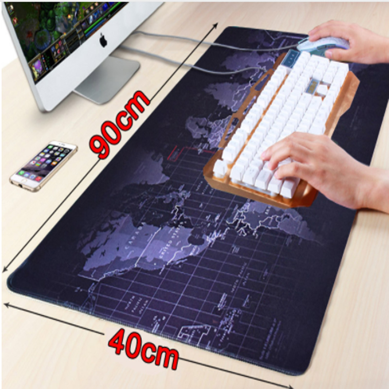 HHD-GJ <font><b>900x400</b></font> large worldmap gaming mouse pad locking edge non-slip computer Keyboard table image