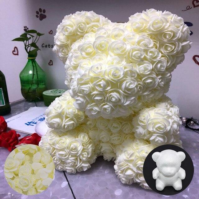 Oso Rosa Blanco espuma flor oso DIY rosas oso flores para boda regalo fiesta artesanía Flor del Día de la madre regalo de Cumpleaños
