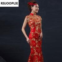Red Chinese Female Long Short Sleeve Cheongsam Gold Dress