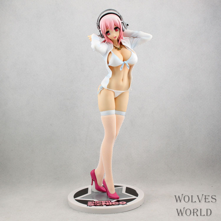 Anime Super Sonic PVC action figure White black shirt Stockings Sonic Sexy girl collectible model toys 22cm a toy a dream furyu sonico action figure super sonic swimsuit ver sexy pvc anime figure bikini sexy girl action figure 13cm