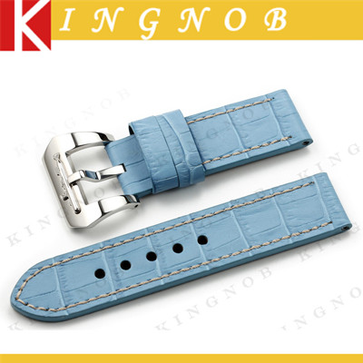 Light Blue Genuine Leather Watchband Watch Strap 24mm Band for PANERAI 44mm Luminor Cases Handmade Alligator