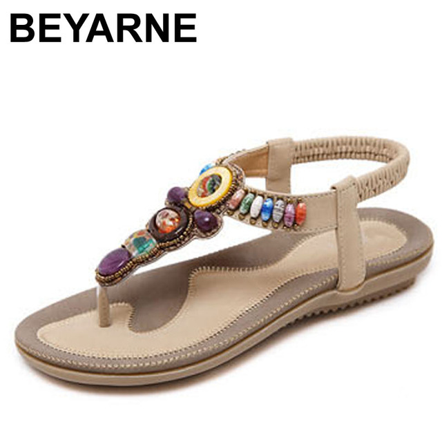 BEYARNE Woman Sandals Bead Bohemian Clip Toe Comfortable Thong Shoes Boho Elastic Band Back Strap Flat Beach Shoes Plus Size 41