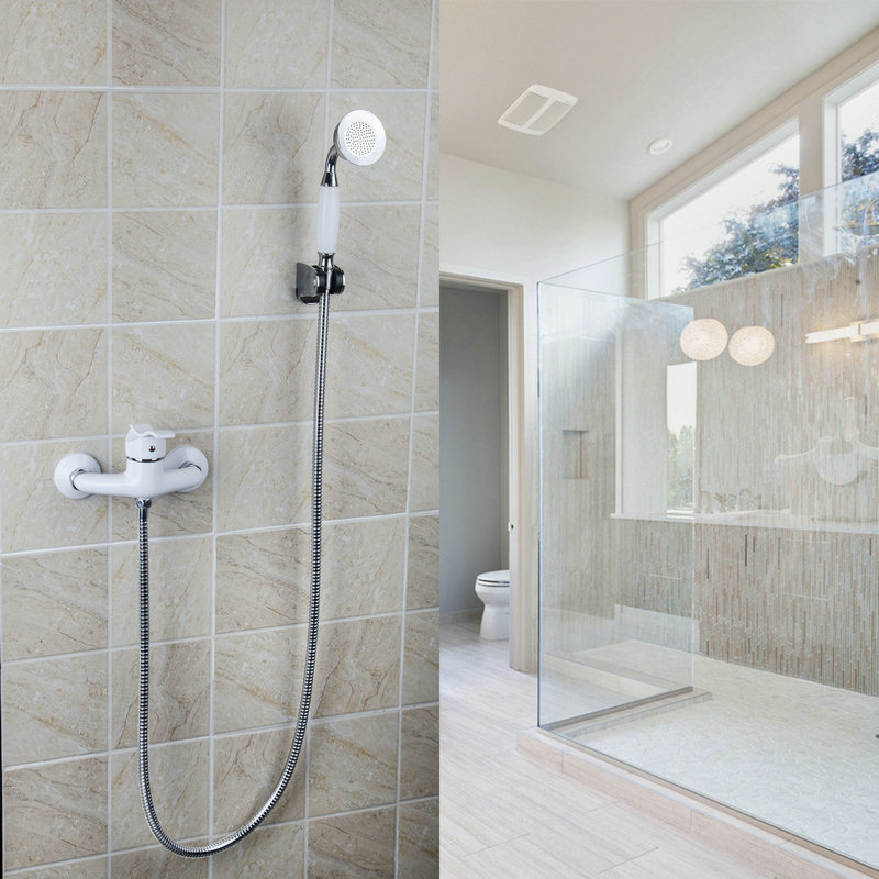 Hot And Cold Mixer Bathroom Faucet With Handle Shower Spray White Painting Wall Mounted Faucets