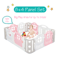 Baby Playpen Toddler Kids Nursery Activity Large Space Play Center Indoor Outdoor Yards Plastic Panel Fence Safe Door Protection