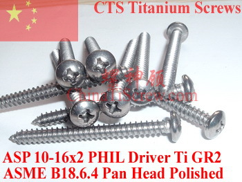 Titanium screws 10x2 Pan Head 2# Phillips Driver Ti GR2 Polished <font><b>50</b></font> pcs image