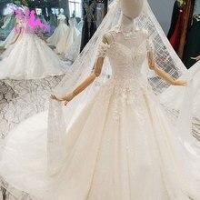 AIJINGYU ラベンダーウェディングドレスインドセクシーなプラスサイズの高級ボール韓国ホワイトブライダルウェディングドレス
