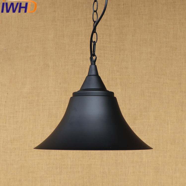 IWHD Iron LED Pendant Lamps Vintage Retro Lamp Bedroom Dining Style Loft Industrial Hanging Lights Black Suspension Luminaire edison inustrial loft vintage amber glass basin pendant lights lamp for cafe bar hall bedroom club dining room droplight decor
