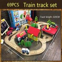 69 шт. деревянная железная дорога набор несколько сцен Магнитная модель автомобиля деревянная головоломка железная дорога т совместима с Brio