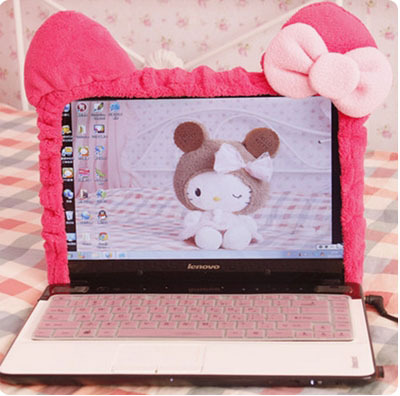Cute Kitty Cat Cartoon Elastic Laptop Screen Dust Proof Cover LED Computer Cover Set Anti-Dust Protective Case.Home Decoration