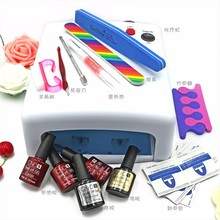 Fashion  Lulaa 10 in  36W UV lamp 7 of Resurrection nail tools and portable package 3+2 10 ml soaked UV glue gel nail polish set
