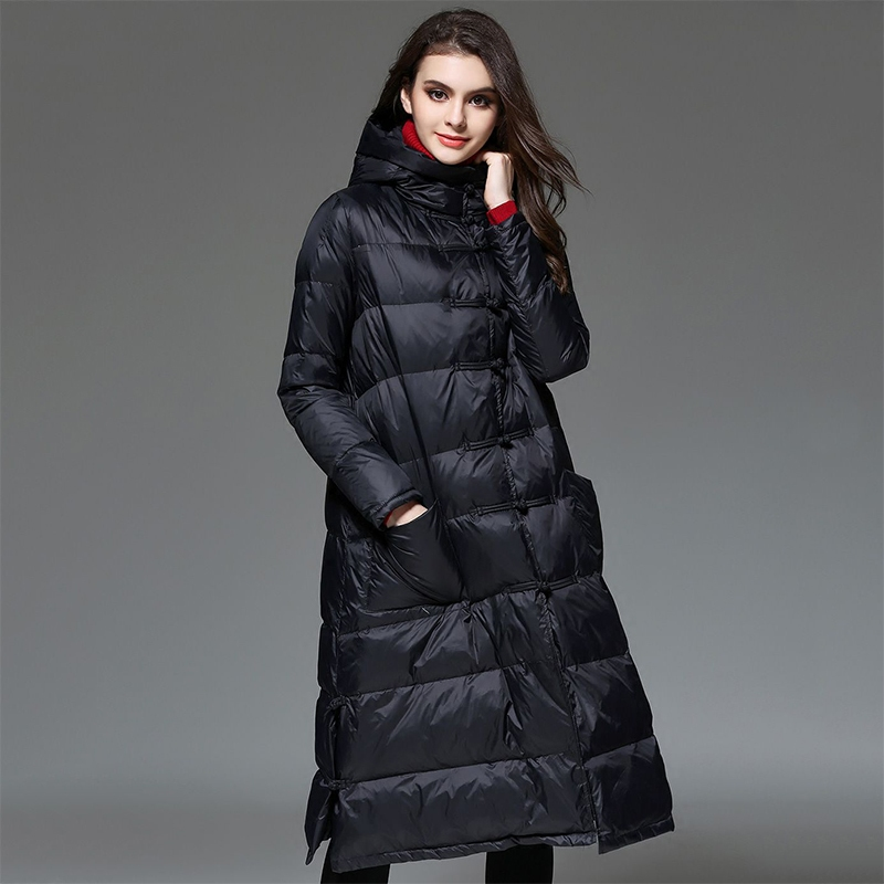 2018 New Women Winter Down Jackets Female Long Hooded Down Coat High Quality Thick Coats Winter Warm White Duck Down Parka NO530