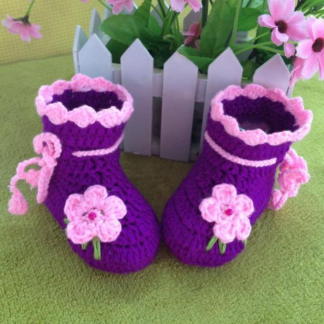 Новорожденных цветок впервые walkers Детская Обувь Младенцы Крючком Вязать Руно Сапоги Малышей Девочка Мальчик Шерсть Снег Детская Кровать В Обуви Зимние Пинетки