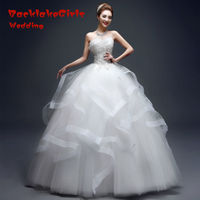 Fashion 2016 Crystal A Line Strapless Weding Gown Satin White Sleeveless Bridal Gowns Wedding Dresses Vestido