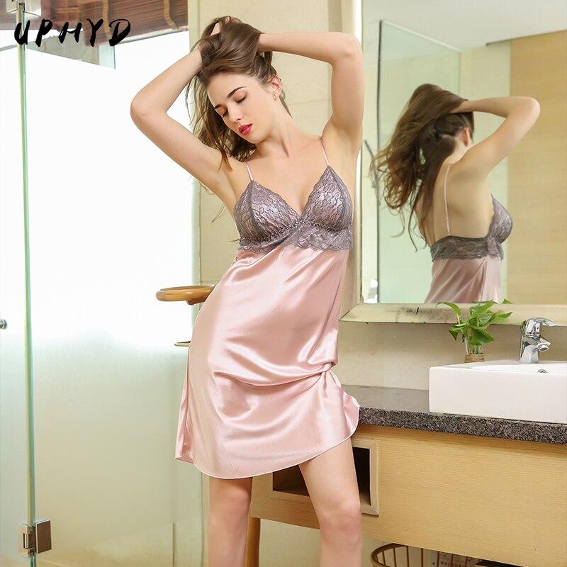 Lace Slip Dress Satin Silk Nightgown Ladies Sexy Satin Sleepwear AG903