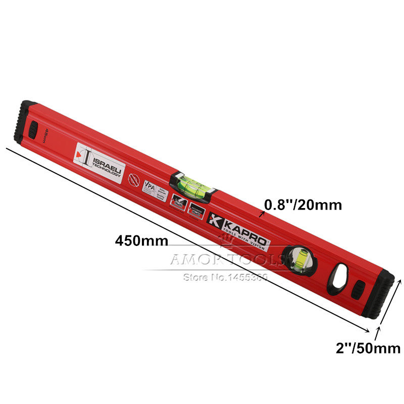 30a905c82b9 Bubble Level 0.0005 in 0.5mm Shockproof Hard Aluminum Alloy 450mm Spirit  Level For Decoration Measuring Tools