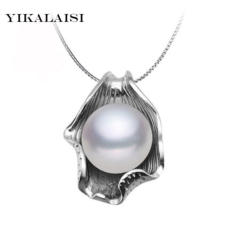 YIKALAISI 2017 Pearl Necklace Pearl Jewelry 925 Sterling Silver Jewelry For Women Natural Freshwater Pearl Seashell Pendants yikalaisi 2017 real freshwater natural pearl necklace women fine perfect round necklace 925 sterling silver pearl jewelry
