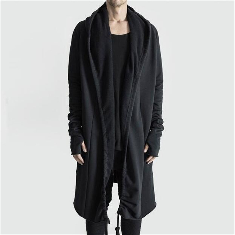 Brand Kanye West Mantle Streetwear Hoodie Long Male Black Mens Hooded Cloak Hip Hop Longline Sweatshirt Sudadera Hombre