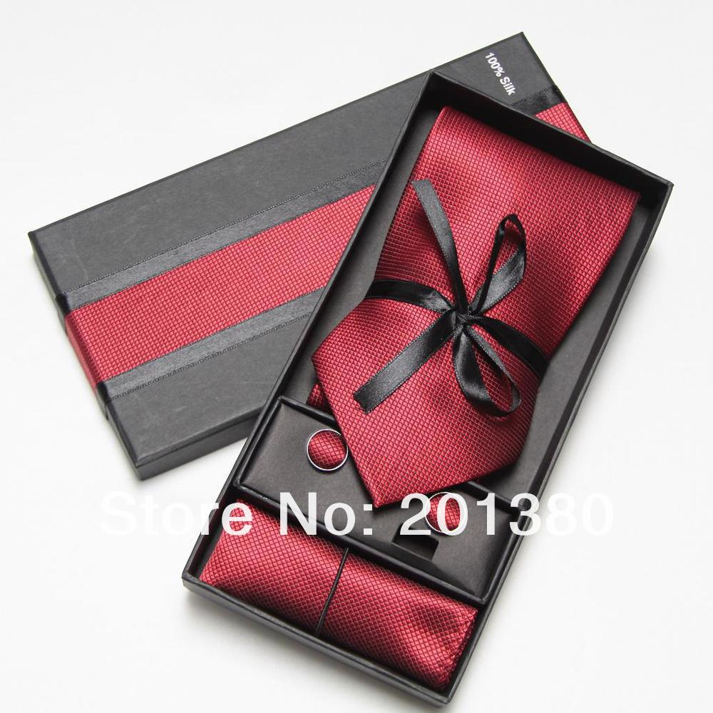 2019 Red Mens Tie Fashion Men Ties Set Cufflinks Handkerchief Pocket Square In Box Necktie Packaging