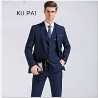 Blazer Pants Classic Men Suit Slim Royal Blue Wedding Groom Wear Men Suit Black Gentlemen