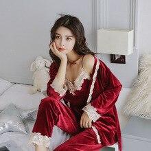 Pyjama en velours pour femme, vêtements de nuit automne hiver, Sexy brodé, salon 3 pièces, vêtements de maison