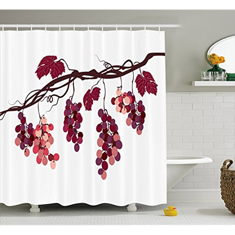 Vixm Fruit Shower Curtain Vine Branch With Colorful Grapes Agriculture Illustration Healthy Food Options Fabric Bath Curtains In From Home