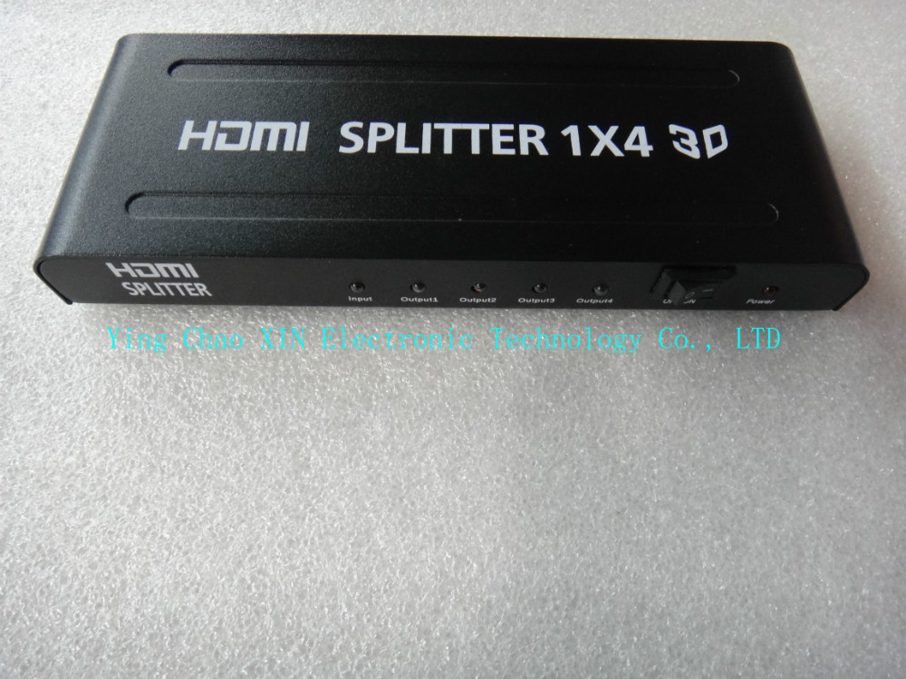 Mini 4 Port 1x4 HDMI Splitter Converter Support 3D HD 1.4 Up To 1080P 1 Input 4 Output Amplifier & Adapter Free Shipping