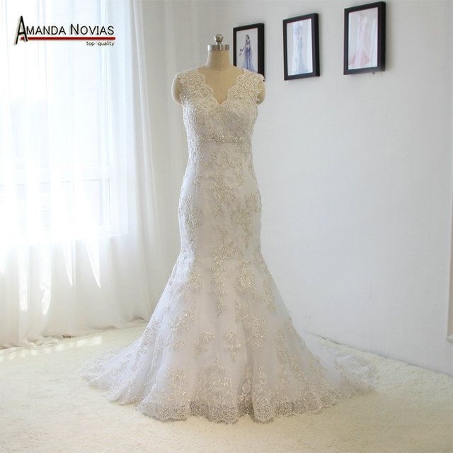 Straps Silver Lace Appliques Beading Mermaid Wedding Dresses Buttons ...