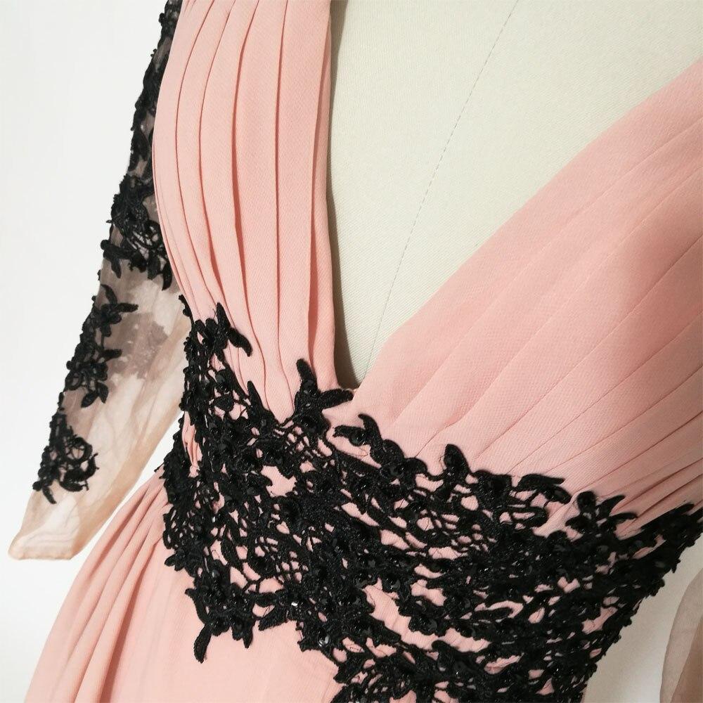 E JUE SHUNG Tozlu Pembe Siyah Dantel Aplikler Uzun Abiye Derin V Yaka - Özel Günler Için Elbise - Fotoğraf 5