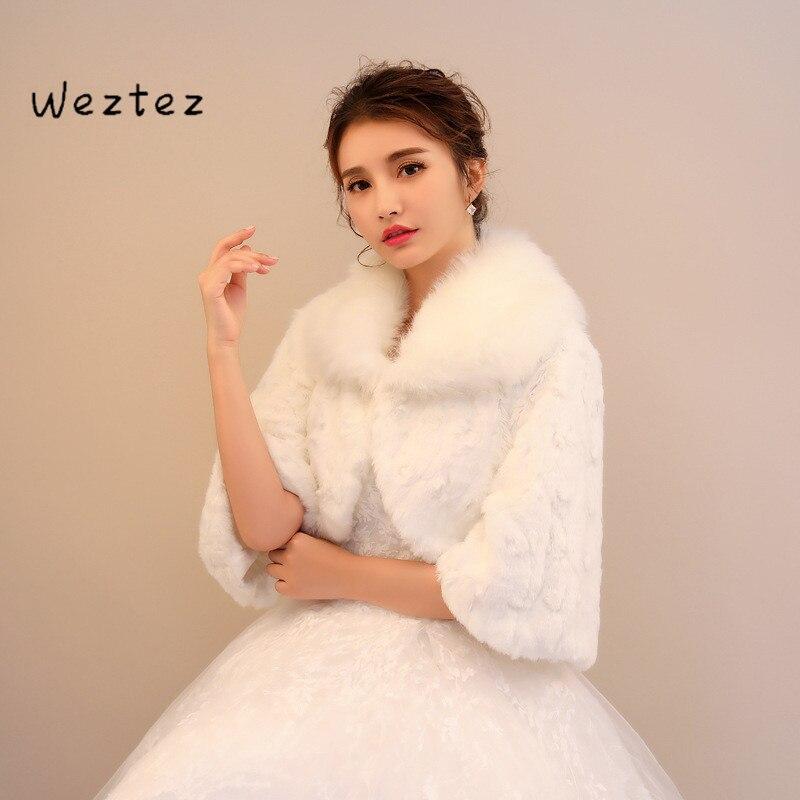 Wedding Wrap Shawl Bridal Jacket Coat Wedding Fur Bolero Noble Elegant Warm Faux Fur Bolero PJ101
