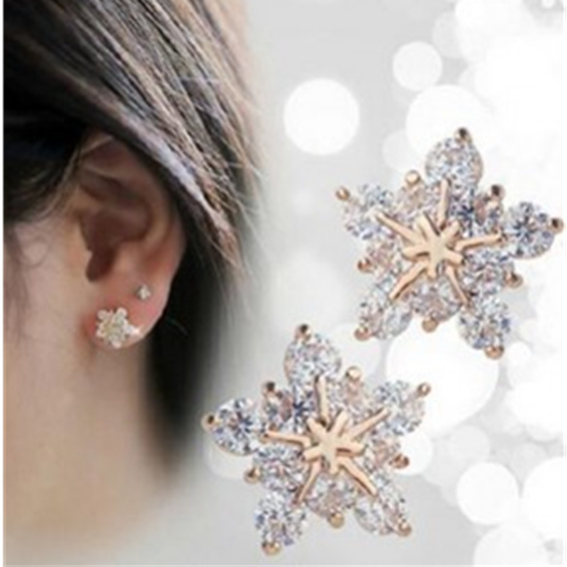 New Womens Crystal Jewelery Costume Earrings - Womens Snowflake Gold Earrings for Fashion Jewellery Pendientes Mujer