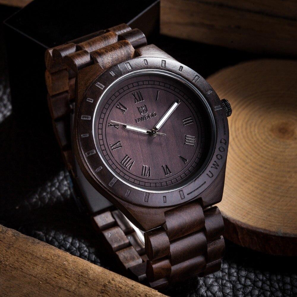 Herren Uhren Holz Uhr Männer erkek kol saati Luxus Stilvolle Holz Uhren Chronograph Quarz Handgelenk Uhren in Holz Geschenk box