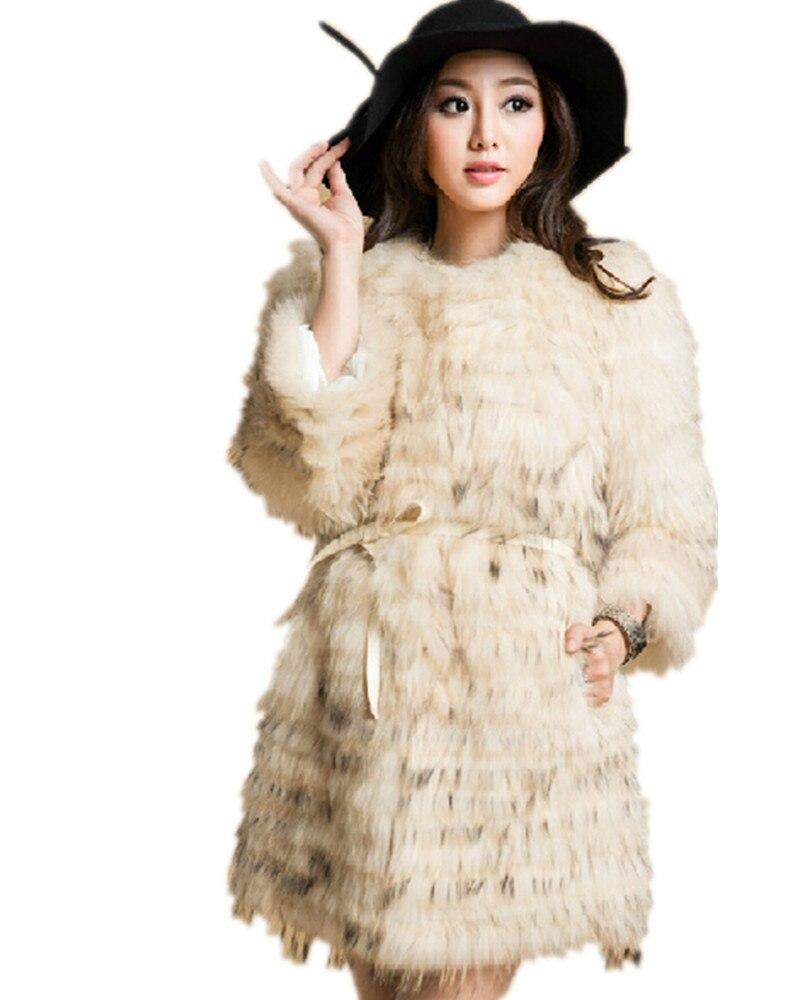 Pleine long Manteau Veste Hiver C224 Beige Pour Neck Moyen Laveur L'automne De Raton Véritable O Femmes Doux Blanc Fourrure Manches owAqRXvS0
