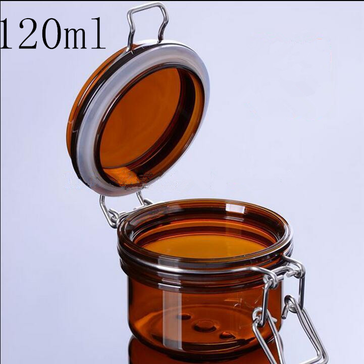 Free Shipping 120g/ml Brown Lucency Plastic Seal Empty Packing Bottle Jar Facial Mask Cream Lotion Empty Cosmetic Containers free shipping 15 20 30ml high transparent pet plastic bottle seal liquid bottle small empty bottle packing bottle capsules