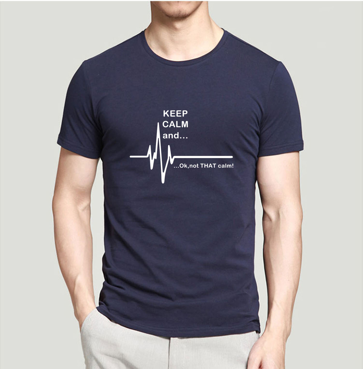 2019 Summer Men T Shirt Keep Calm And...Not That Calm EKG Heart Rate Funny Short Sleeve Shirt Casual Cotton Slim Fit Tops Tees