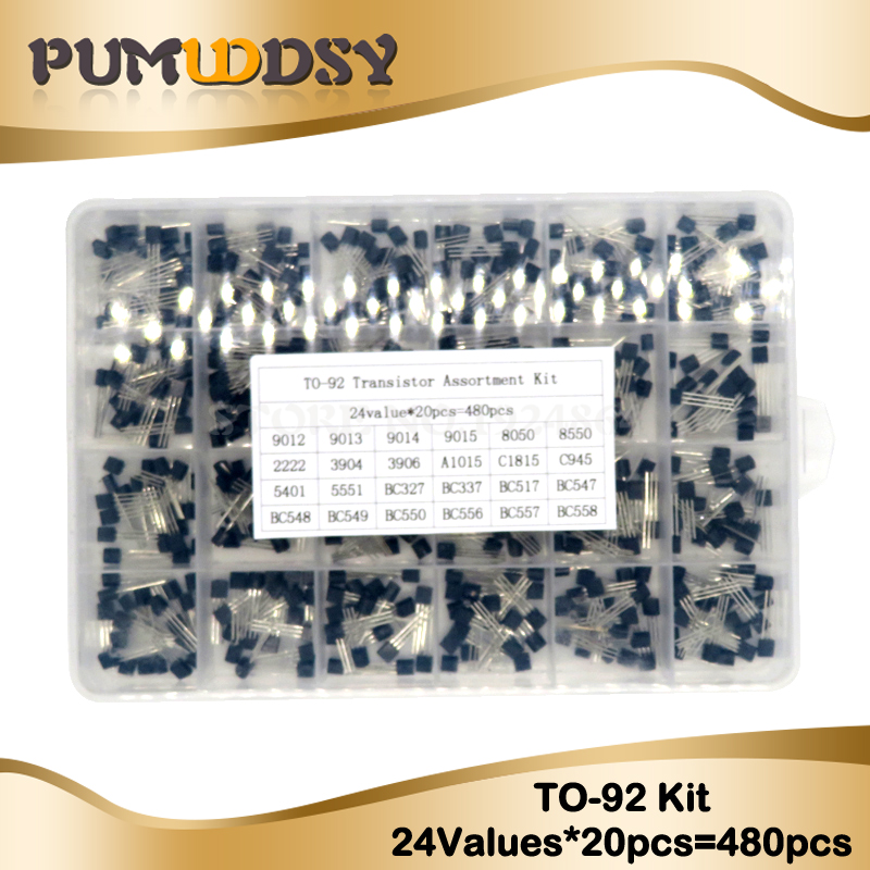 24Values TO-92 Transistor Assortment Assorted Kit Each BC327 BC337 BC517 BC547 BC548 BC549 2N2222 3906 3904 5401 5551 C945 1015