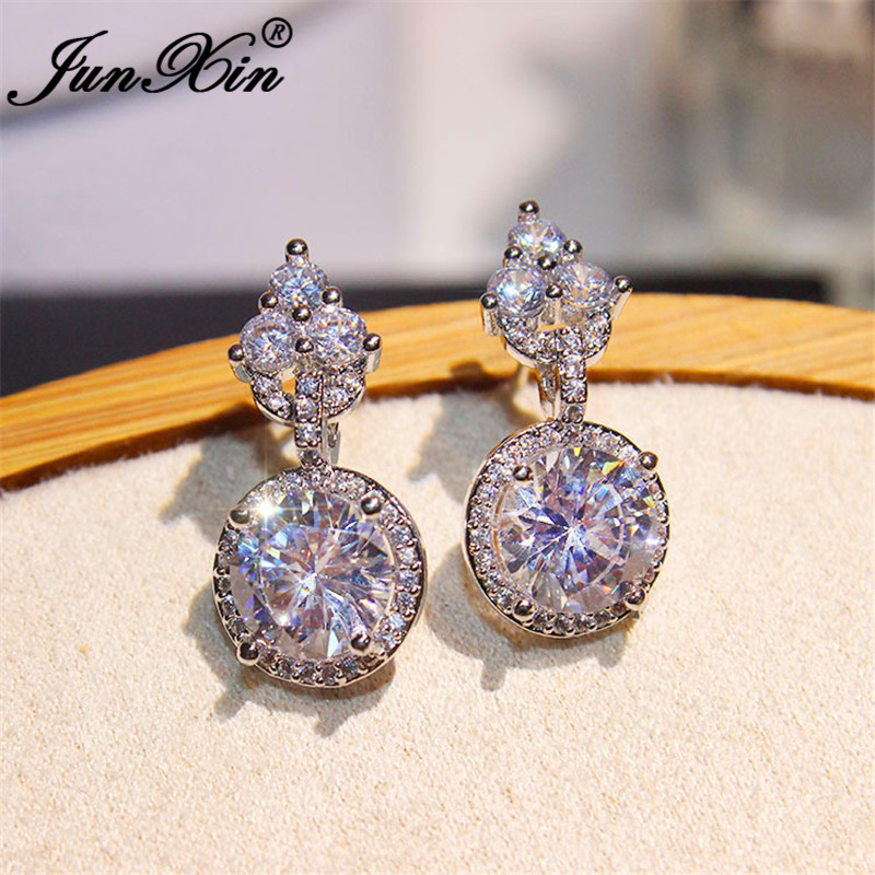 JUNXIN Female Crystal Wedding Earrings White Gold Round White Zircon Stone Engagement Stud Earrings For Women Party Jewelry