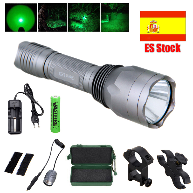 Portable 350 Lumens Hunting Torch Tactical Hunting Light+Rechargeable Battery Set +Remote Pressure Switch+Mount+Box