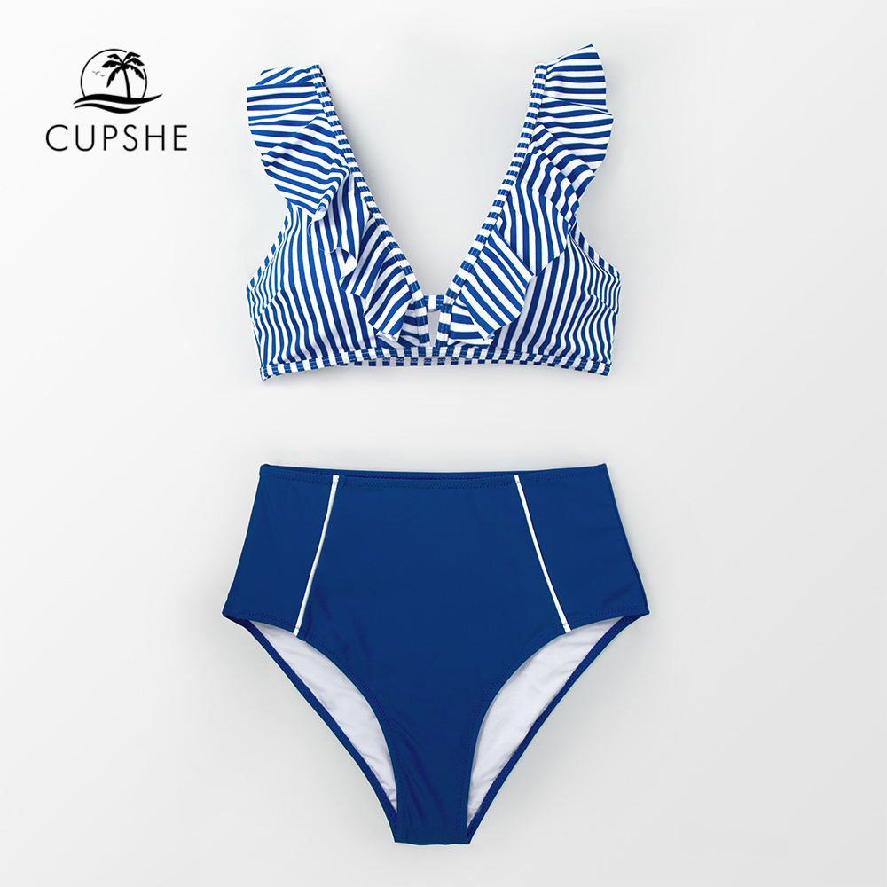 CUPSHE Sexy Blue Striped And High-waisted Ruffles Bikini Sets Women Cute Two Pieces Swimsuits 2020 Girl Beach Bathing Suits 3
