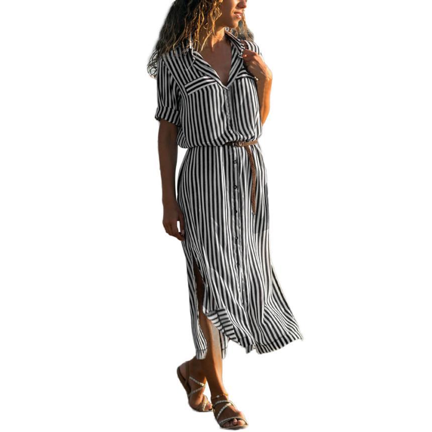 KANCOOLD Dress Women fashion Stripe Printed Long Sleeves Button Dress Bandage Belt Shirt Long Dress women 18AUG8 5