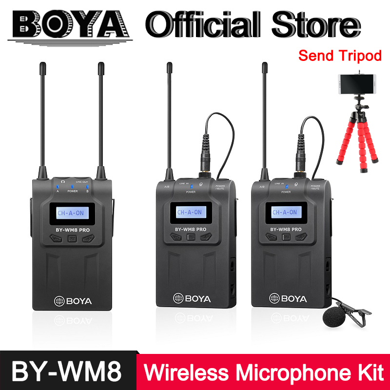 BOYA BY-WM8 Pro-K2 Pro-K1 UHF Dual-Channel Lavalier Wireless Microphone System for Canon Nikon DSLR Camera Camcorder ENG EFP Mic цена