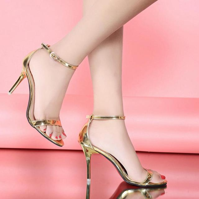 Mujer Verano Para AbiertaDoradas AltosPlataforma Zapatos MujerCon Plateadas Sandalias Grande Punta HebillaTacones Y De Talla 4jL5Rq3A