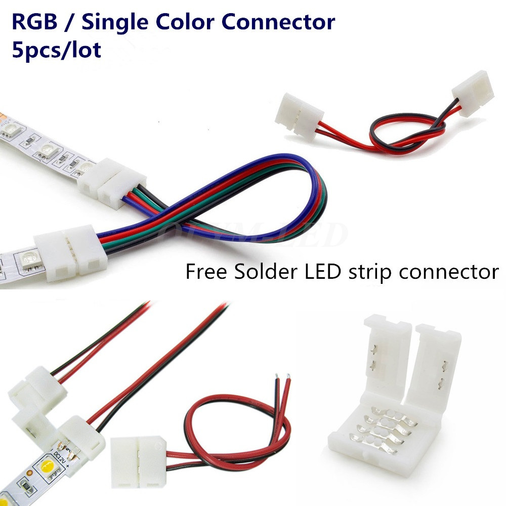 5X 2Pin 4Pin LED Strip Connector 8mm 10mm 3528 2835 5050 Wire RGB Single Color solderless LED PCB board 4 pin wire connectors