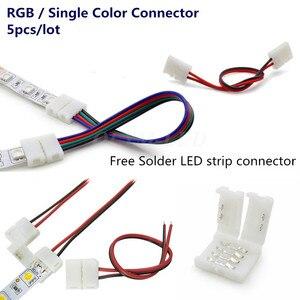 5X 2Pin 4Pin złącze taśmy led, 8mm, 10mm, 3528 2835 5050 drutu RGB pojedynczy kolor bez lutowania płyta główna led 4 pin złącza przewodów
