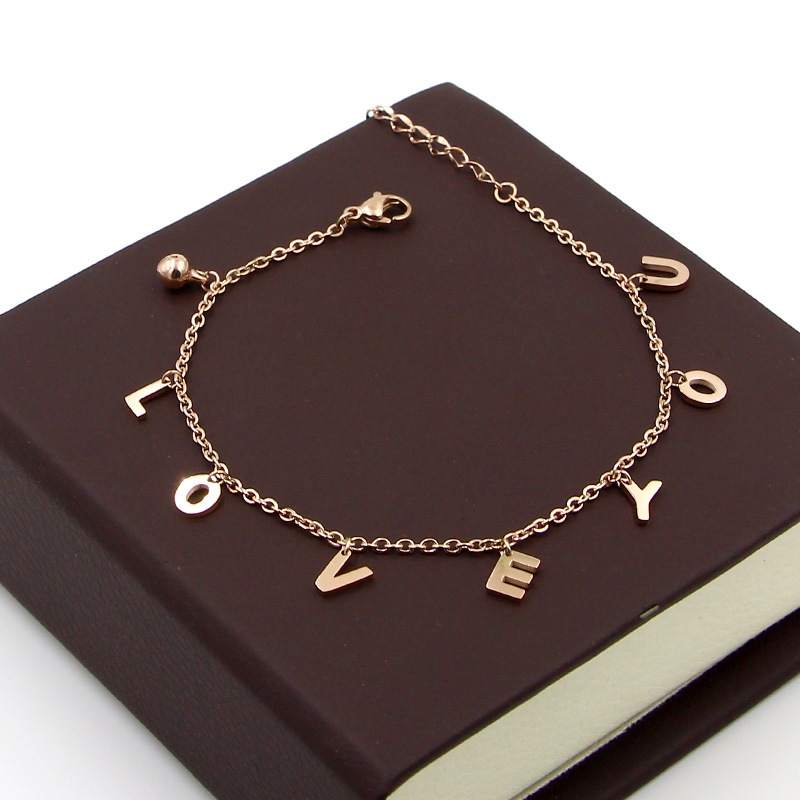 077414e07 Details about LOVE YOU Letters Ankle Leg Foot Chain Bracelet Steel Rose Gold  Anklet Jewelry