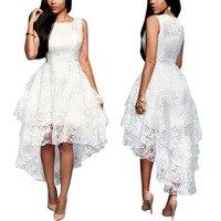 Backlakegirl Asymmetrical White Lace Satin Prom Dress Elegant Embroidery Flowers Prom Gowns 2018 Vestido De Fiesta Longo Limited