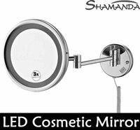 Бесплатная доставка Высокое качество твердая латунь хром Ванная комната косметическое зеркало со светодиодной подсветкой в настенные зер